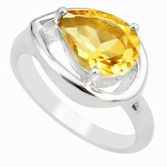 2.46cts natural yellow citrine 925 silver solitaire ring jewelry size 6 p62258