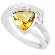3.28cts natural yellow citrine 925 silver solitaire ring jewelry size 7.5 p62267