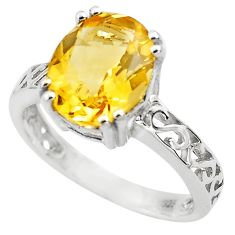 4.80cts natural yellow citrine 925 silver solitaire ring jewelry size 6 p82711