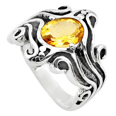2.99cts natural yellow citrine 925 silver solitaire ring jewelry size 7.5 p82737