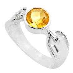 2.52cts natural yellow citrine 925 silver solitaire ring jewelry size 6.5 p82743
