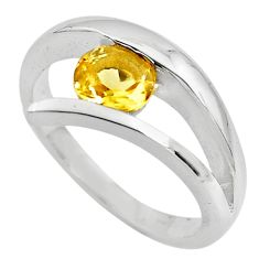 0.97cts natural yellow citrine 925 silver solitaire ring jewelry size 7.5 p82787