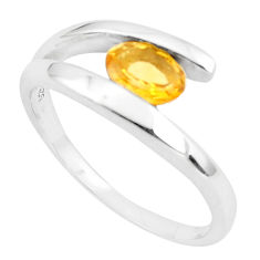 1.57cts natural yellow citrine 925 silver solitaire ring jewelry size 7.5 p82983