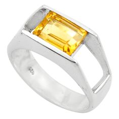 3.13cts natural yellow citrine 925 silver solitaire ring jewelry size 8.5 p83077