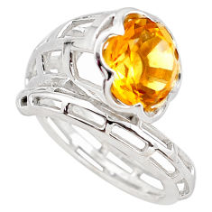 6.62cts natural yellow citrine 925 silver solitaire ring jewelry size 8.5 p83165