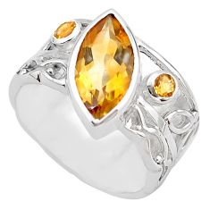 6.61cts natural yellow citrine 925 silver solitaire ring jewelry size 8 p83249