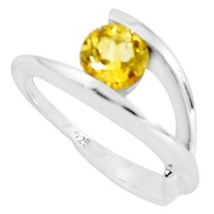 1.48cts natural yellow citrine 925 silver solitaire ring size 5.5 p36925
