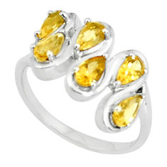 4.43cts natural yellow citrine 925 sterling silver ring jewelry size 8 p37203