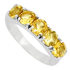 4.92cts natural yellow citrine 925 sterling silver ring jewelry size 6.5 p37296