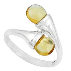 4.28cts natural yellow citrine 925 sterling silver ring jewelry size 8 p62041