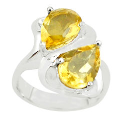 5.69cts natural yellow citrine 925 sterling silver ring jewelry size 9 p62099