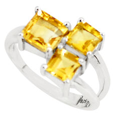 3.93cts natural yellow citrine 925 sterling silver ring jewelry size 6.5 p62109