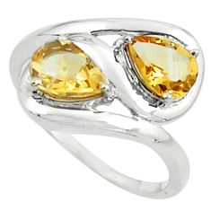3.13cts natural yellow citrine 925 sterling silver ring jewelry size 6 p62192