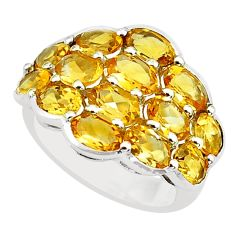 14.12cts natural yellow citrine 925 sterling silver ring jewelry size 5.5 p62237