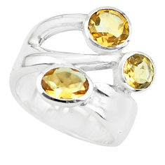 3.74cts natural yellow citrine 925 sterling silver ring jewelry size 5.5 p62328