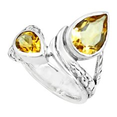 5.28cts natural yellow citrine 925 sterling silver ring jewelry size 7.5 p62355