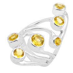 4.81cts natural yellow citrine 925 sterling silver ring jewelry size 6.5 p62674