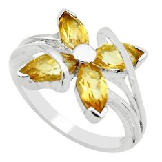 6.39cts natural yellow citrine 925 sterling silver ring jewelry size 7.5 p62765