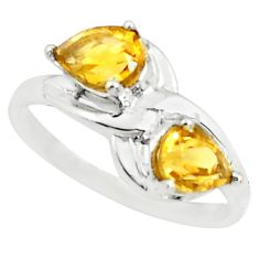 3.26cts natural yellow citrine 925 sterling silver ring jewelry size 8 p73040
