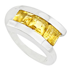 3.28cts natural yellow citrine 925 sterling silver ring jewelry size 5.5 p73066