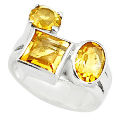6.54cts natural yellow citrine 925 sterling silver ring jewelry size 6 p73091