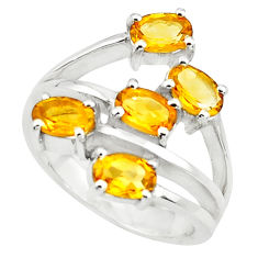 5.61cts natural yellow citrine 925 sterling silver ring jewelry size 7.5 p73211