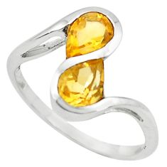 3.21cts natural yellow citrine 925 sterling silver ring jewelry size 6.5 p73271