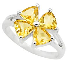 3.42cts natural yellow citrine 925 sterling silver ring jewelry size 5.5 p73376