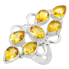 10.41cts natural yellow citrine 925 sterling silver ring jewelry size 7 p77591