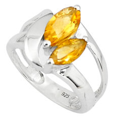 5.63cts natural yellow citrine 925 sterling silver ring jewelry size 8.5 p81557