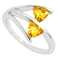 1.66cts natural yellow citrine 925 sterling silver ring jewelry size 5.5 p81910