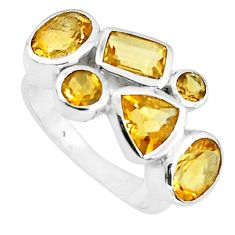 6.30cts natural yellow citrine 925 sterling silver ring jewelry size 7.5 p82816