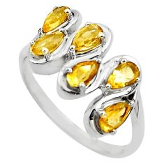 4.30cts natural yellow citrine 925 sterling silver ring jewelry size 8.5 p82850