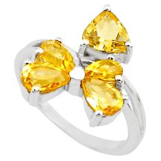 4.52cts natural yellow citrine 925 sterling silver ring jewelry size 5.5 p82888
