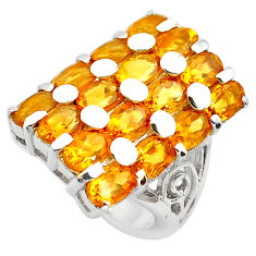 13.68cts natural yellow citrine 925 sterling silver ring jewelry size 7.5 p82942