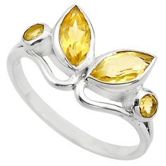 3.93cts natural yellow citrine 925 sterling silver ring jewelry size 7.5 p83002