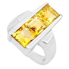 3.94cts natural yellow citrine 925 sterling silver ring jewelry size 6.5 p83085