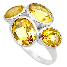 11.23cts natural yellow citrine 925 sterling silver ring jewelry size 7 p83105