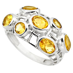6.48cts natural yellow citrine 925 sterling silver ring jewelry size 6.5 p83132