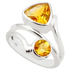 6.32cts natural yellow citrine 925 sterling silver ring jewelry size 6.5 p83194