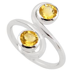 1.74cts natural yellow citrine 925 sterling silver ring jewelry size 5.5 p83213