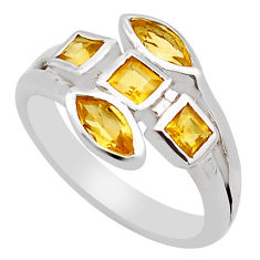 2.72cts natural yellow citrine 925 sterling silver ring jewelry size 7.5 p83295