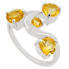 3.29cts natural yellow citrine 925 sterling silver ring jewelry size 6.5 p83329