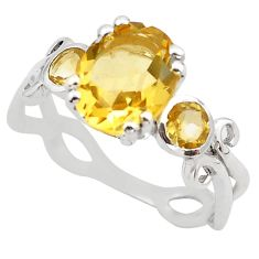 5.21cts natural yellow citrine 925 sterling silver ring jewelry size 6 p83344