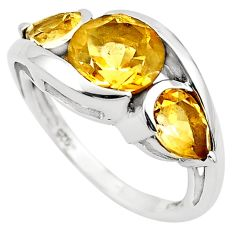 6.72cts natural yellow citrine 925 sterling silver ring jewelry size 7.5 p83472