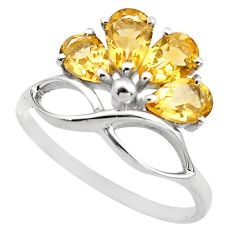 4.34cts natural yellow citrine 925 sterling silver ring jewelry size 9 p83514