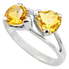 2.73cts natural yellow citrine 925 sterling silver ring jewelry size 5.5 p83626