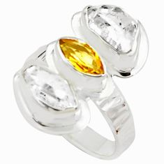 9.47cts natural yellow citrine herkimer diamond 925 silver ring size 7 p70888