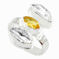 8.94cts natural yellow citrine herkimer diamond 925 silver ring size 8 p70899