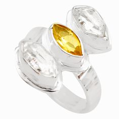 8.53cts natural yellow citrine herkimer diamond 925 silver ring size 7 p71293